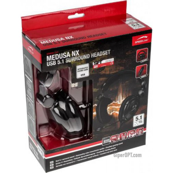 Wired monitor headset for gamers with a microphone, open Speedlink MEDUSA NX 5.1 headphones USB SL-8795-BK