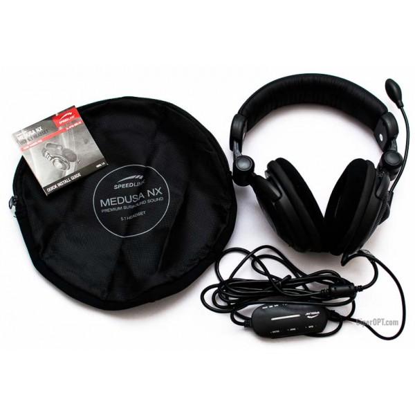 Проводная мониторная гарнитура для геймеров с микрофоном, открытые наушники Speedlink MEDUSA NX 5.1 USB SL-8795-BK