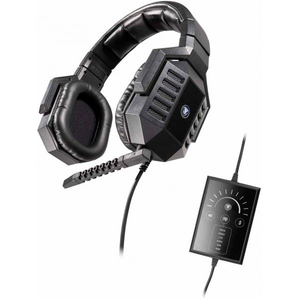 German wired headphones, USB-headset with 7.1 surround sound Snakebyte Python 7500R with microphone for laptop / computer