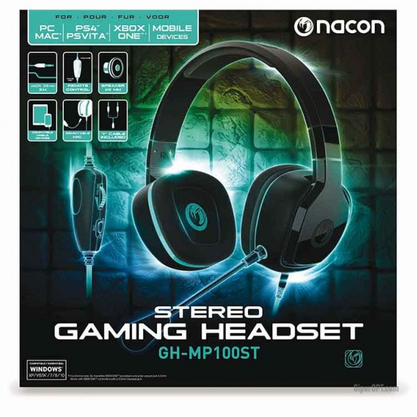 Gaming stereo headset, wired headphones with remote and 3.5 mm PC-GH100ST NACON connector for PS4, 3.5 mm PC connector