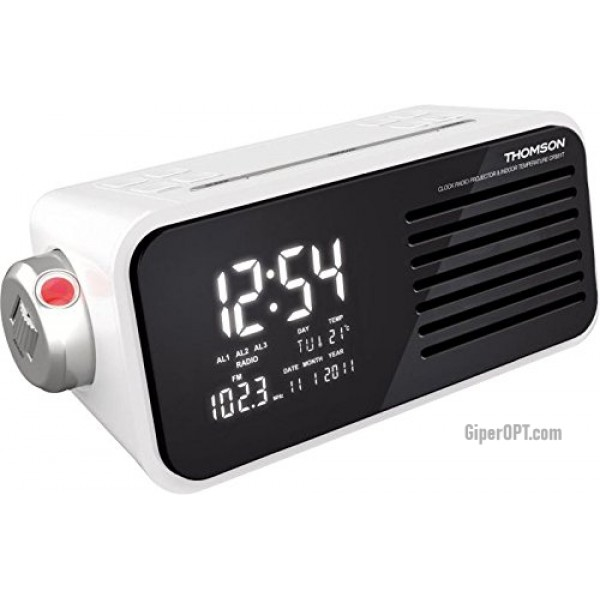 Desktop electronic white clock radios with thermometer and calendar projection Thomson CP301T