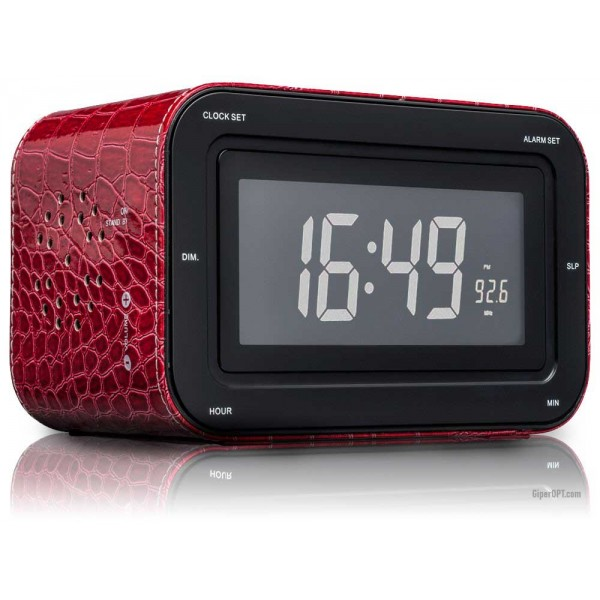 Desktop digital alarm clock clock with LCD display and radio Red Skin BigBen RR 30 LTR