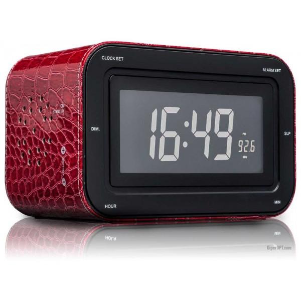 Desktop digital alarm clock clock with LCD display and radio Red Skin BigBen RR 30 LTR