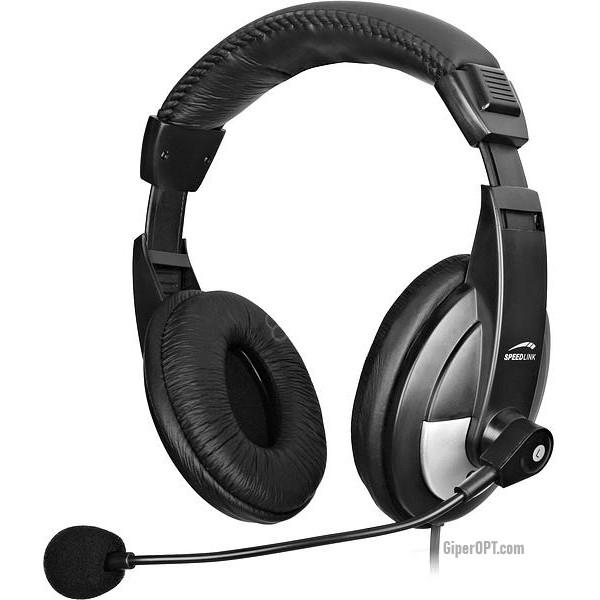 Проводные, закрытые наушники с микрофоном SPEEDLINK Thebe Stereo Headset (SL-8743-SBK-02/BK)