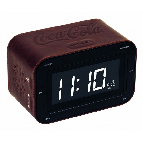 Desktop Digital Radio Alarm Clock Coca-Cola Bigben Sound Leather Brown RR30-LT Leather Watch