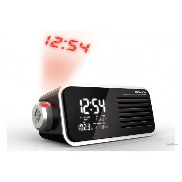 German desktop digital projection clock with radio alarm calendar MP3 Thomson CP300T