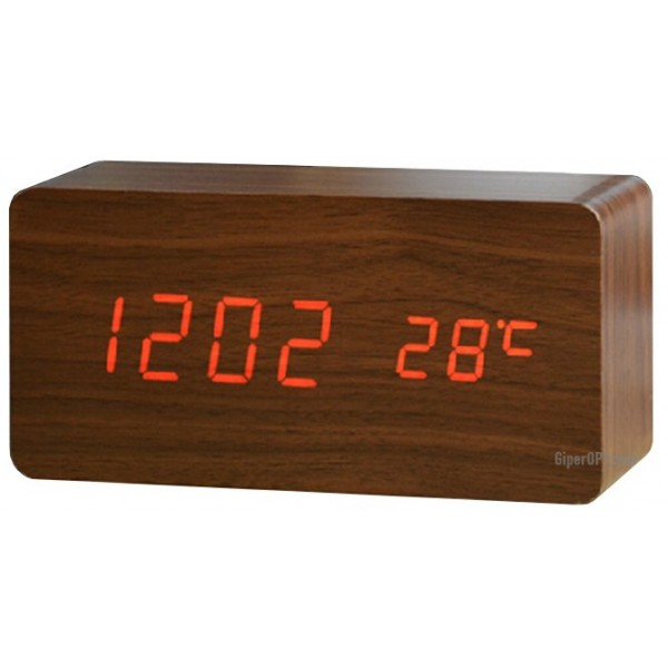 LED wooden table clock LED with temperature ideen welt
