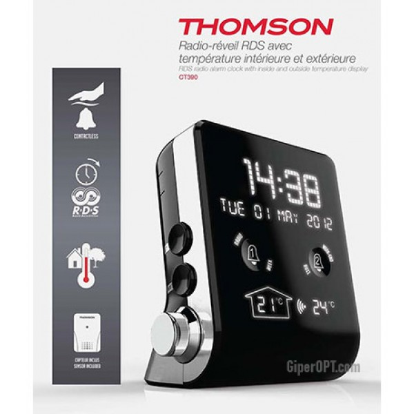 Desktop alarm clock radio digital clock with thermometer intelligent functions USB CT390 THOMSON