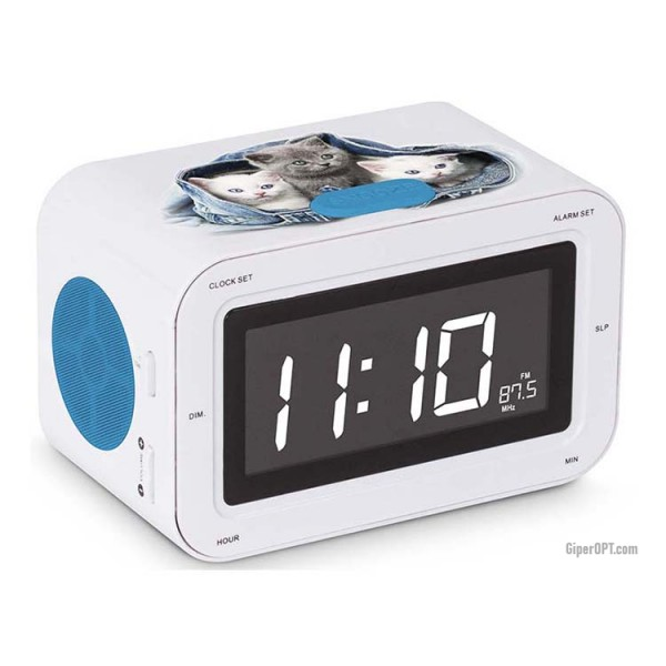 "Desktop electronic children's alarm clock radio clock ""3 kittens"" RR30CATS2 BIGBEN"