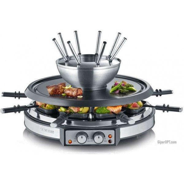 Fondue + Grill + Racquet + barbecue on a stone, tabletop electric SEVERIN RG 2348