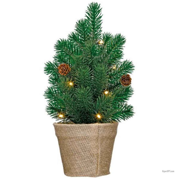 "Table spruce artificial with a garland, LED tree ""Christmas tree"" Ideenwelt LED, green"