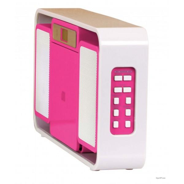 Магнитола, стереосистема детская, стерео портативный CD-плеер Bigben MCD10, FM, MP3, розовый + наклейки