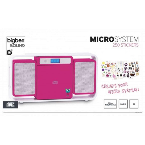 Radio, stereo for children, stereo portable CD player Bigben MCD10, FM, MP3, pink + stickers