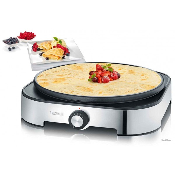 Crepe maker electric Severin SM 2197 with a grill, 1500 W, stainless steel