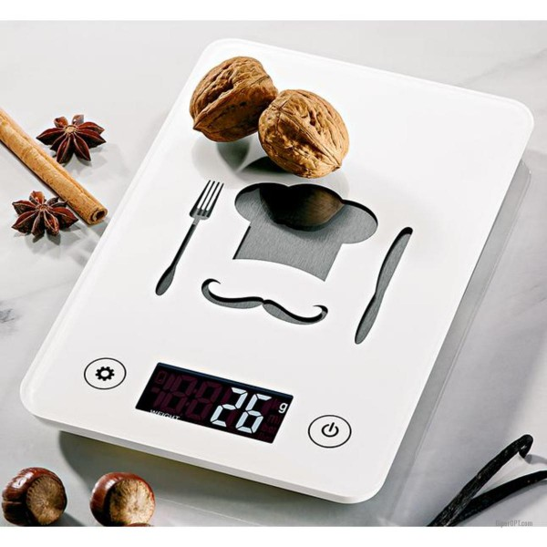 Kitchen scales, electronic, digital ideen welt, white, up to 5 kg