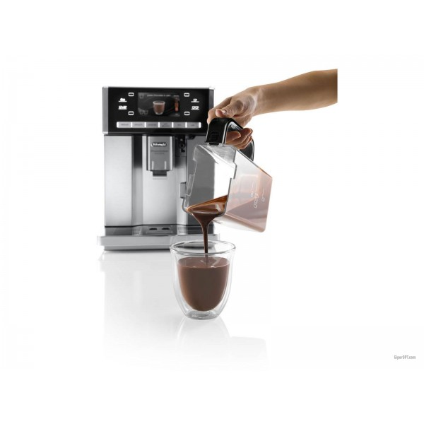 The automatic Russified DeLonghi PrimaDonna Exclusive ESAM coffee machine of 6900 M