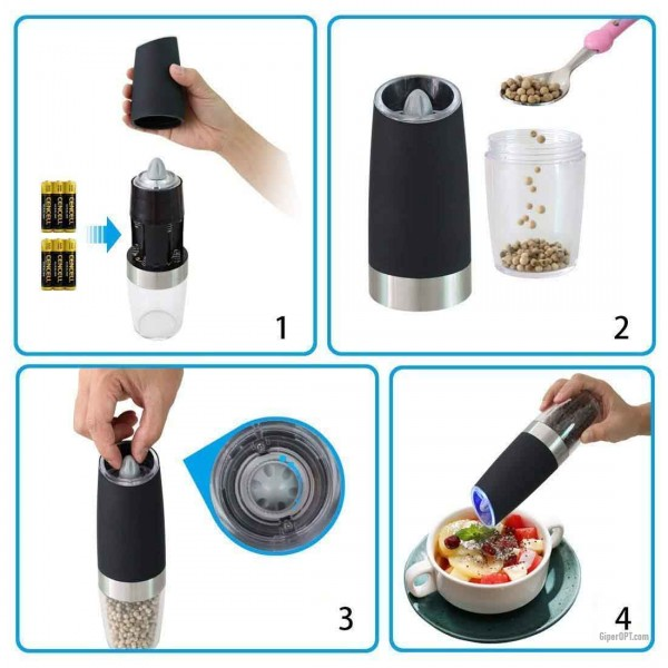 Electric kitchen mill for salt, pepper, spices with light LED ideen welt KDL-546, black
