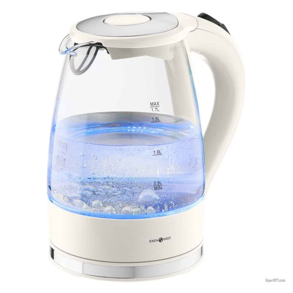 Electric glass kettle with light, white IdeenWelt HHB1749A