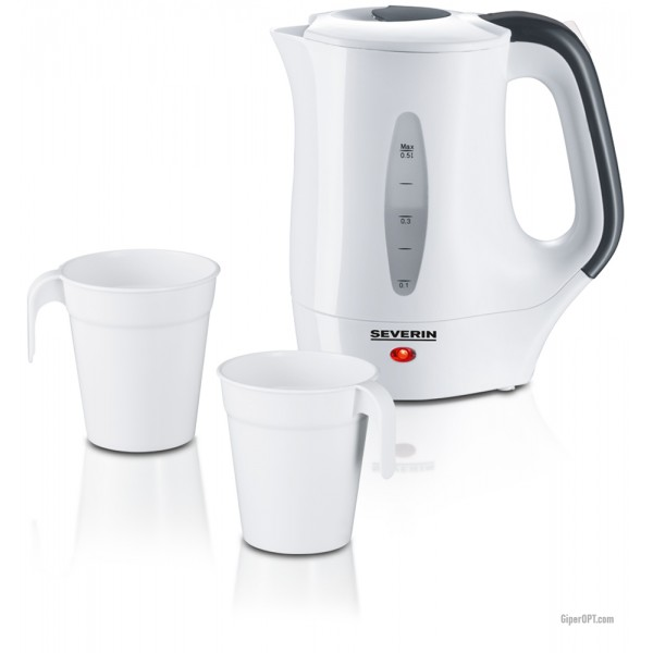 Travel electric kettle, electric kettle with glasses and spoons SEVERIN WK 3644