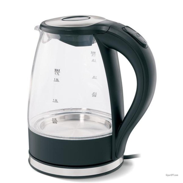Electric kettle glass, black with illumination IdeenWelt JF-G102