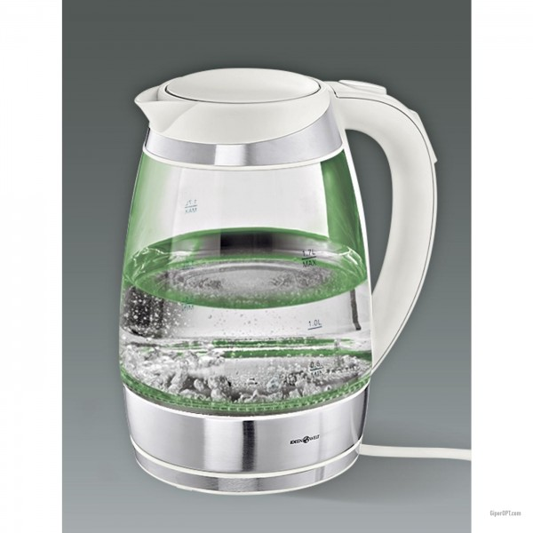 Electric kettle glass, white with light and temperature control IdeenWelt F-683D