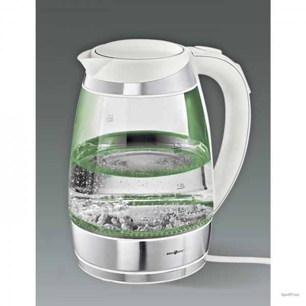 Электрический чайник стеклянный, белый с подсветкой и регулятором температуры IdeenWelt F-683D