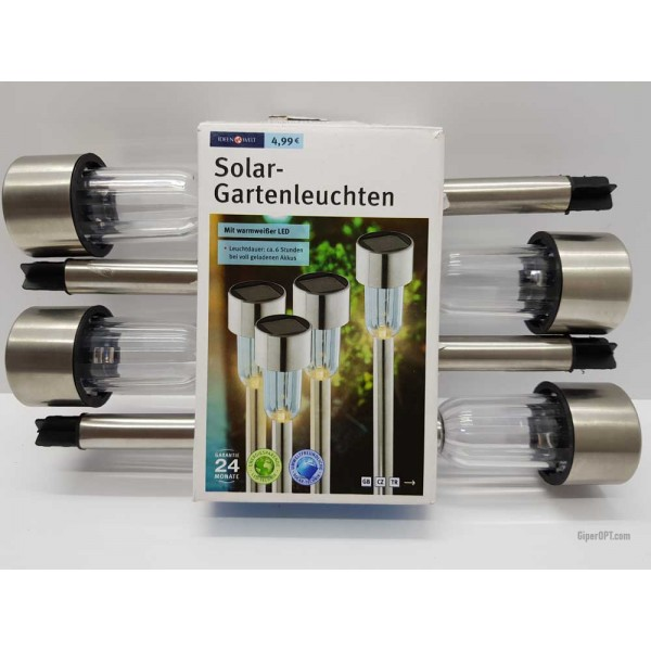 Set of 4 solar garden lights, stainless steel street lights with solar-powered LED Ideenwelt