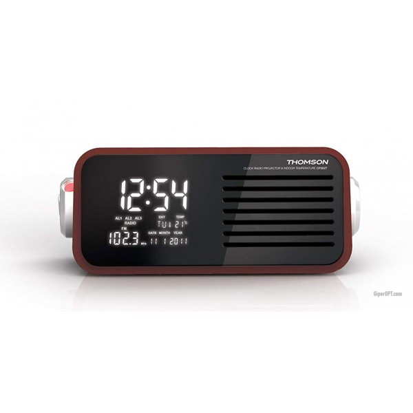 Table clock red with a projection of time on the ceiling, alarm clock, portable radio THOMSON CP302T